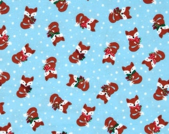 Jingle All the Way Little Foxes on Blue FLANNEL Fabric by the half yard