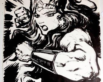 Original Wonder Woman Large Brush and Ink Drawing