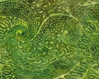 "SALE Green Swirl Jungle Island Sun Batik Fabric - 22"" x 44"" -  Moda Batik - 4322 21"