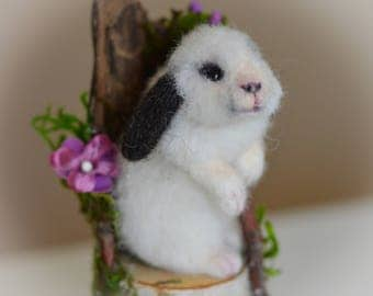 Miniature Lop Ear Bunny Rabbit w Fairie Woodland Twig Chair OOAK Needle felted Soft Sculpture by Bear Doll Artist Stevi T.