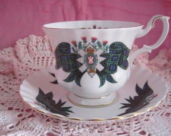 ROYAL ALBERT English Bone China Teacup and Saucer Black Watch from Scottish Tartan Series