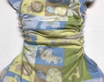 MamaBear One Size Fitted Cloth Cotton Flannel Diaper - Little Safari