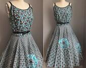 Vintage 1950's Aqua and Black Roses Cotton Full Circle Skirt Sun Dress Sundress Size Large