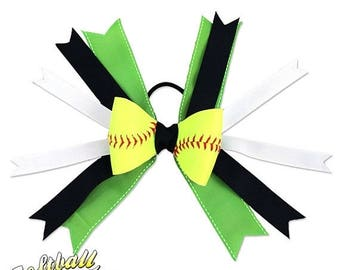 JUNE SALE: Softball Hair Bow - Lime Green Black