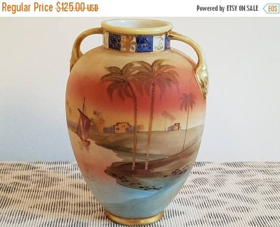 Christmas in July Sale Antique Nippon Japan hand painted porcelain ceramic vase urn with eared handles Egyptian dessert oasis scene