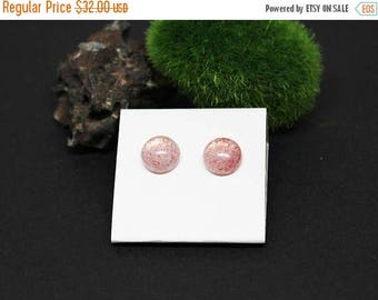 Christmas In July Sale - Strawberry Quartz Gemstone . 10mm Round Dome . Sterling Silver Posts Studs Earrings . Clear with Speckled Strawberr