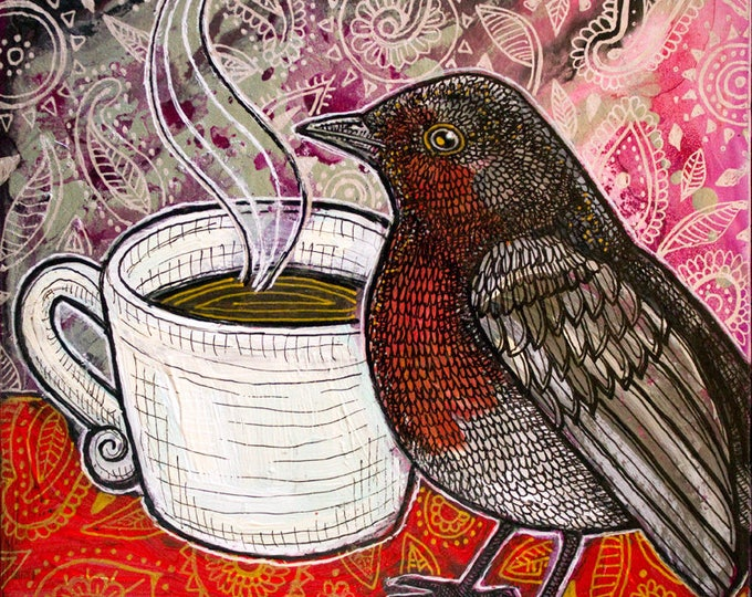 Original Robin and Coffee / Tea Cup Painting by Lynnette Shelley
