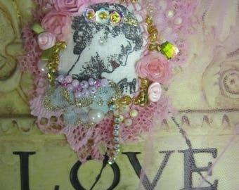 Mixed Media Brooch, LADY Brooch, Romantic LADY, Artsy Brooch, Large Lady Portrait, Art to Wear,