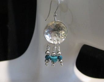 Turquoise Sterling Silver Hand Hammered Disc Earrings