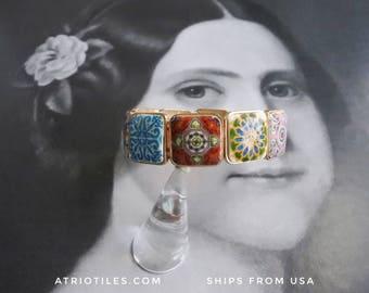 Bracelet Portugal Tiles Azulejos Antique Talavera History - Évora, Cartaxo, Gift Boxed - for a small or medium wrist OOAK