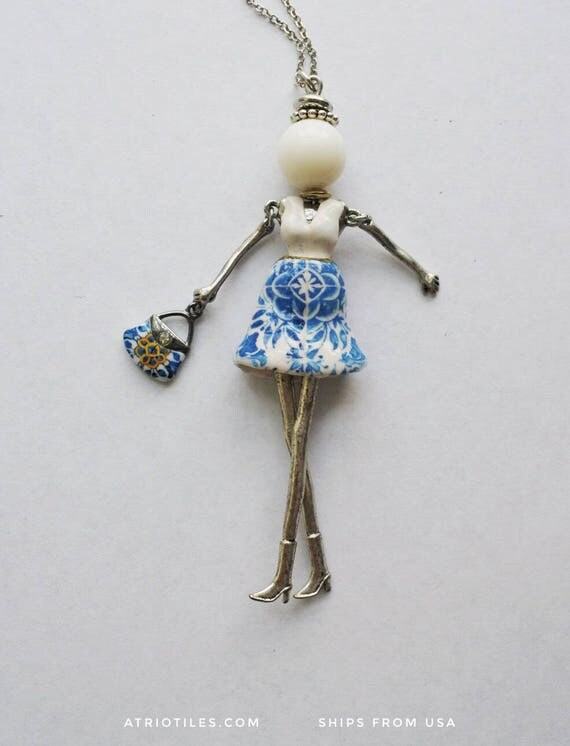 Portugal Girl Doll Necklace Antique 16th Century Azulejo Tiles - Tomar Cloister - Convent of Christ built in 1160 - Camellias -