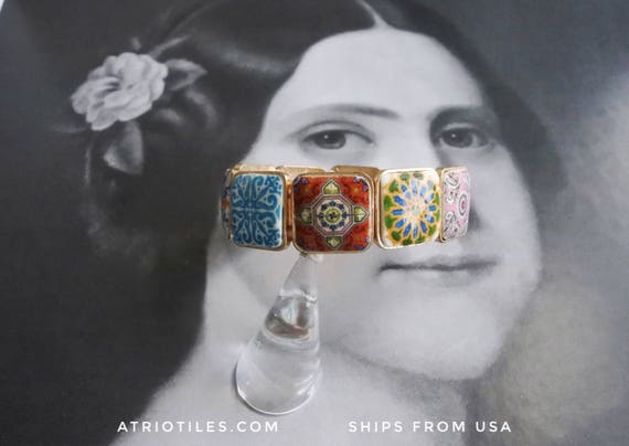 Bracelet Portugal Tiles Azulejos Antique Talavera History - Évora, Cartaxo, Gift Boxed - for a small or medium wrist OOAK