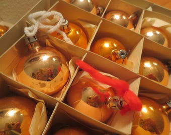 Vintage Lot of 24 Christmas Ornaments Made in Poland Coby and Shiny Brite Boxed Ornaments GOLD or ORANGE color