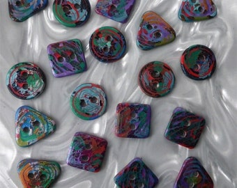 18 unusual funky handmade buttons (set18_24)