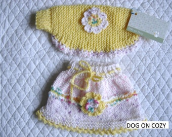 Dog Skirt and Shrug, Hand Knit for Pet, Size XSMALL, Yellow