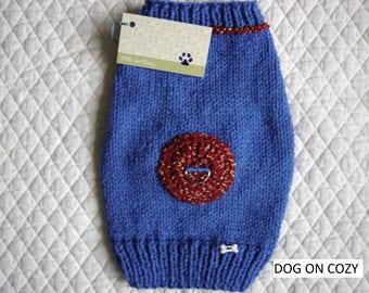 Dog Harness Sweater, Hand Knit Pet Sweater, SMALL, Blue