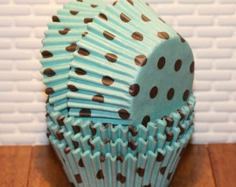 Blue & Brown Polka Dots (Qty 45)  Blue Cupcake Liners, Blue Baking Cups, Blue Muffin Cups, Cupcake Liners, Baking Cups,