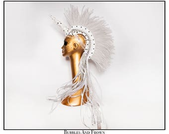 Studly… Unicorn Mohawk in White and Silver with Spikes  Studs and Rhinestones, Ruffles and Ribbons