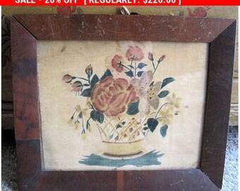 Antique Folk Art Painting Theorem Velvet 1850 American