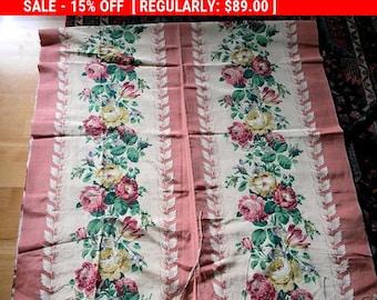 Vintage Barkcloth Roses Fabric Faille Boudoir Shabby