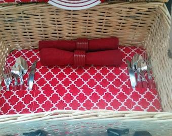 Picnic Basket Set, Service for 2, Refurbished in Red