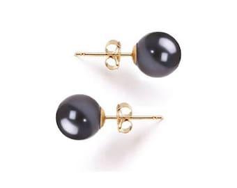Holiday Gift - Japanese Freshwater Pearl Earrings Studs AAA 6 to 10mm Black Pearl Earrings Stud Wedding Earrings Bridesmaid Earrings Stud