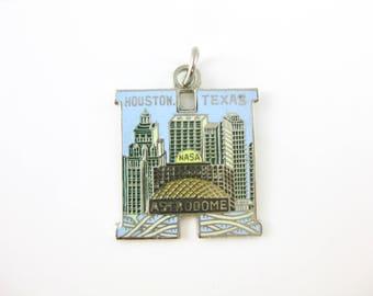 Vintage Enamel Sterling Silver Houston Texas Nasa Astrodome State Charm