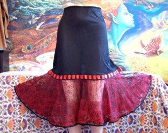 50s Slip, Half slip, Black, red, Crinoline, Halloween, Costume, Lingerie, S/M