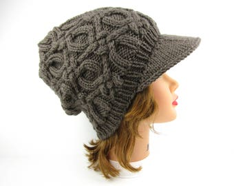 Women's Newsboy Cap - Cable Knit Hat - Taupe Beanie With Brim - Visor Hat - Slouchy Cap - Knit Accessories
