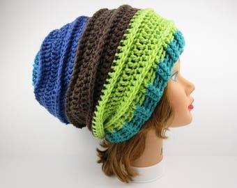 Slouchy Beanie Hat, Crochet Hat, Women's Hat, Green Blue Brown Hat, Slouchy Hat, Women's Beanie, Winter Hats For Women, Crochet Beanie