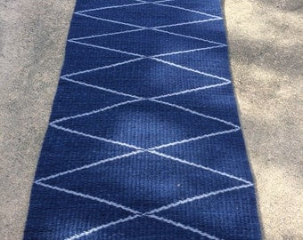 Geometric X's and Diamonds Handwoven Wool Rug. Two Rugs in One. Dark Indigo and Gray