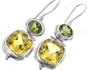 """1 1/8"""" Lavish Lemon Quartz Peridot 925 Sterling Silver Earrings"""