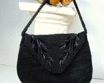 Vintage Beaded Black Mini Purse with  Wrist Strap, 1960s Made in Czechoslovakia, Snaps Closed