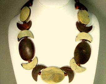 Sliced Water Buffalo Horn Necklace, 1970s, Earthy Boho Neutrals, Chippy, Textured , Still So Cool..So Tribal, So Hippie.. Handmade