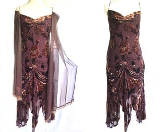 Retro style Embroidery beaded Burn out velvet evening dress with silk chiffon shawl