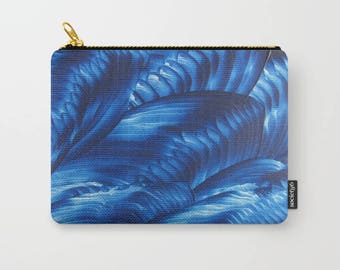 Blue Ribbons Carry-All Pouch / Cosmetic or Toiletry Bag / Jewelry Making or Art Supplies / Coin Purse / Available in 3 Sizes / Made to Order