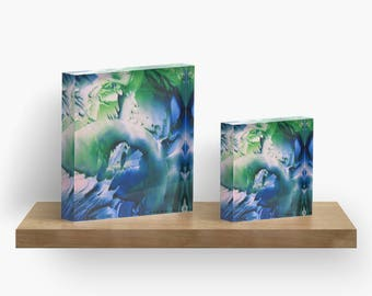 Blue Green Ocean or ANY of My ART on Acrylic Block / Shelf, Mantel, Desk Art, Paperweight / Small Space Art / Made to Order in 2 Sizes