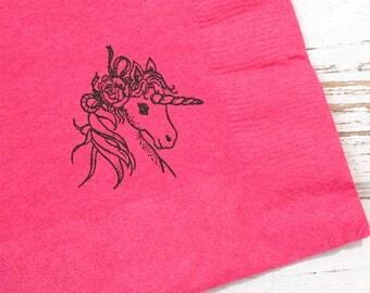 Unicorn Party Napkins - Set of 25 - 3 ply, 1/4 fold Luncheon napkins