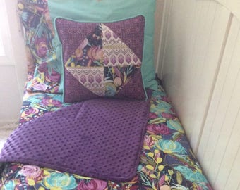 Baby Girl Purple Teal Turquoise Aqua Floral Toddler Bedding Set with Blanket