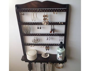 Jewelry Shelf, Jewelry Organizer, Necklace Holder, You Choose Stain, Jewelry Holder, Display Rack, Solid Oak Wood, Hardwood, Wall Mounted