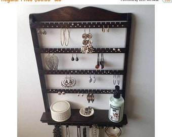 ON SALE Jewelry Shelf, Jewelry Organizer, Necklace Holder, You Choose Stain, Jewelry Holder, Display Rack, Solid Oak Wood, Hardwood, Wall Mo
