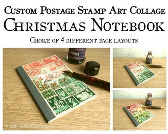 Red Green Christmas Notebook, Festive Stamp Art Stocking Filler
