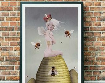 Queen Bee Art Print - Bee Art Print - Big Eyed Art - Big Eyed Girl - A3 Art Print - Wall Decor - Queenie