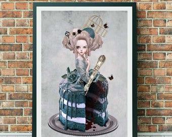 Marie Antoinette Art Print - Marie Antoinette Cake Print - Lowbrow Art - Lowbrow - A3 Art - Bitter Sweet