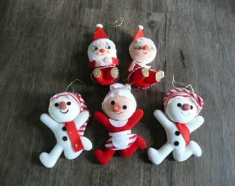Lot of 5 Vintage 70s Flocked Christmas Ornaments FREE SHIPPING