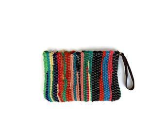 Small Bohemian Fabric Kilim Bag. Boho Chic Multicolor Wristlet Purse.  Upcycled Kourelou Bag. Pencil Case. Makeup Case. Eco Friendly Gift
