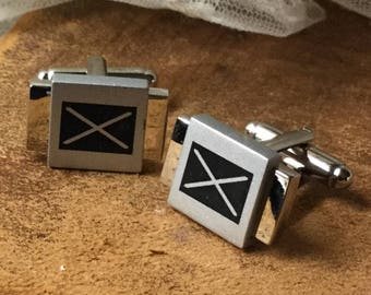 The Letter X Brushed Shiny Silver Tone Metal Cuff Links Unsigned 1980's 1990's Handsome Man Jewelry Career Evening Wear Square Rectangle