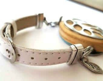 Bellabeat Leaf Bracelet  White leather band .925 sterling silver leaf
