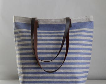 Blue Mini Stripe Linen Tote Bag with Leather Handles - READY TO SHIP