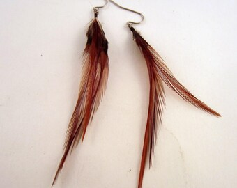 Ginger Natural Feather Earrings